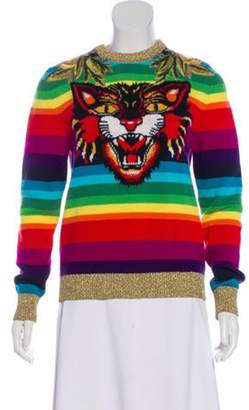 Gucci Rainbow Angry Cat Wool Sweater Red Rainbow Angry Cat Wool Sweater