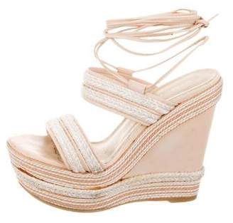 Stuart Weitzman Leather & Jute-Trimmed Wedges