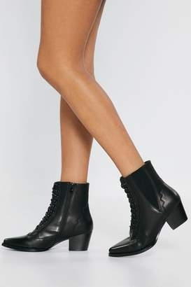 2fce4637d2f Nasty Gal Lace Up V Gusset Victoriana Boot