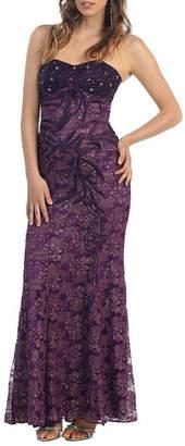 Asstd National Brand Classy Strapless Lace Evening Dress