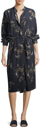 Vince Spaced Floral-Print Tie-Waist Shirtdress