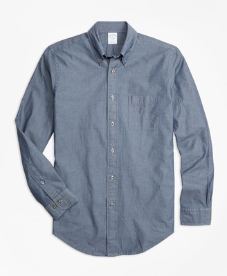 Brooks Brothers Regent Fit Indigo Chambray Sport Shirt