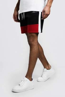 boohoo Colour Block MAN Mid Length Shorts