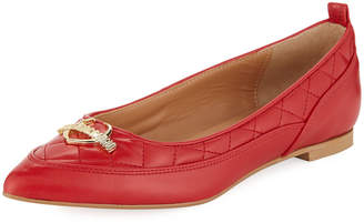 Love Moschino Quilted Pointed Leather Flats