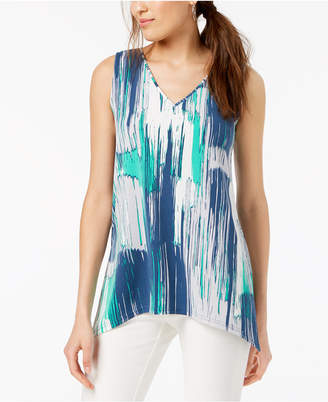 Alfani Colorblocked Handkerchief-Hem Top, Created for Macy's