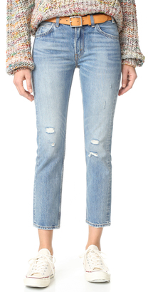 Levi's 505 C Cropped Slim Straight Jeans $98 thestylecure.com