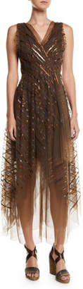 Brunello Cucinelli V-Neck Striped-Sequin Tulle Midi Dress w/ Asymmetric Hem