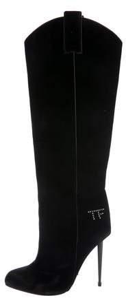 Tom Ford Velvet Pointed-Toe Knee-High Boots