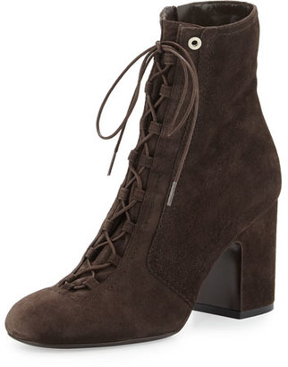 Laurence Dacade Milly Lace-Up Suede Bootie, Gray $1,195 thestylecure.com