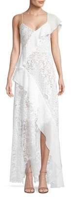 BCBGMAXAZRIA Asymmetric Ruffle High-Low Dress