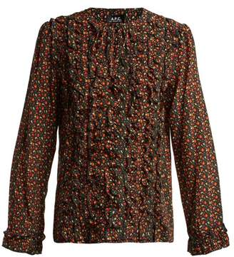 A.P.C. Lillian Cherry Print Silk Blouse - Womens - Black Multi