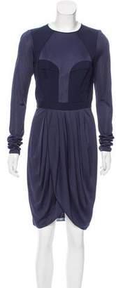 J. Mendel Silk-Paneled Knee-Length Dress