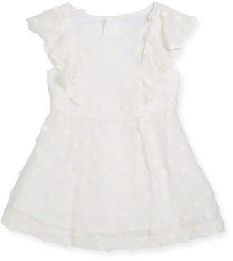 Milly Minis Daisy-Embroidery Ruffle Dress, Size 4-7