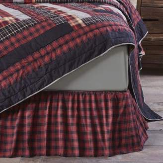Ashton & Willow Chili Pepper Red Rustic & Lodge Bedding Shasta Cabin Cotton Split Corners Gathered Plaid Queen Bed Skirt