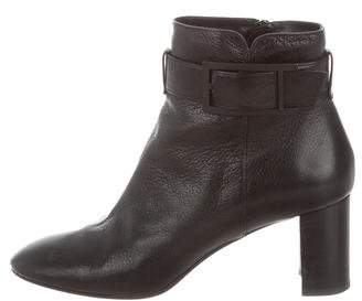 Aquatalia Leather Round-Toe Ankle Boots