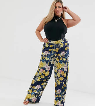 Missguided Plus high waisted wide leg trousers in floral print