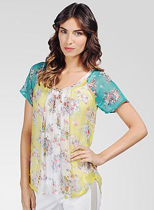 Ella Moss Citrus Floral Short Sleeve Top