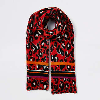 River Island Red leopard print scarf