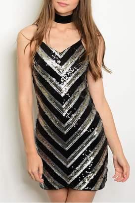 Verty Black Sequins Dress