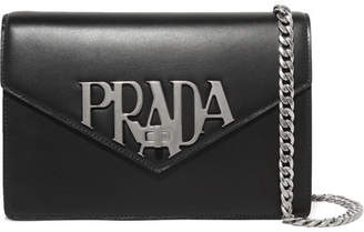 Prada Logo Liberty Leather Shoulder Bag - Black