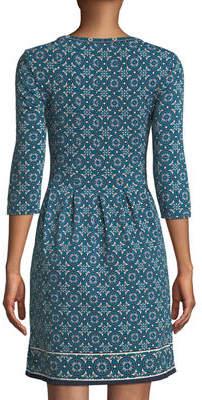 Max Studio 3/4-Sleeve Tuck-Pleat Printed Jersey Dress