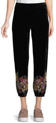 Johnny Was Velvet Jogger Pants with Embroidered Cuffs