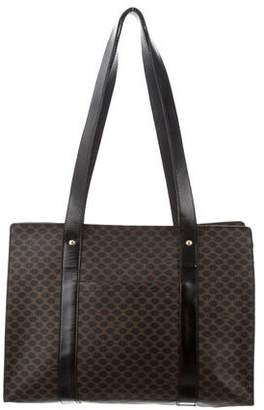 Celine Leather-Trimmed Macadam Tote