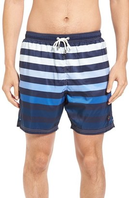 Men's Paul & Shark Stripe Swim Trunks $290 thestylecure.com