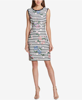 Tommy Hilfiger Striped Floral-Print Sheath Dress