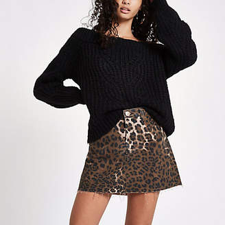 River Island Brown leopard print denim mini skirt