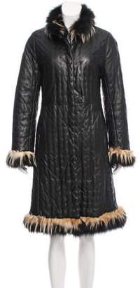 Giuliana Teso Fur-Trimmed Leather Coat