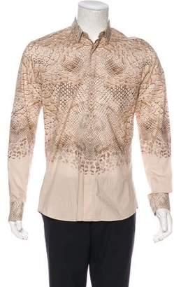 Alexander McQueen Snakeskin Print Woven Shirt