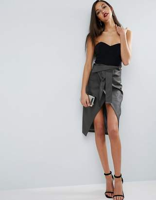 ASOS Pencil Skirt in Leather Look with Double Split and Self Belt $79 thestylecure.com
