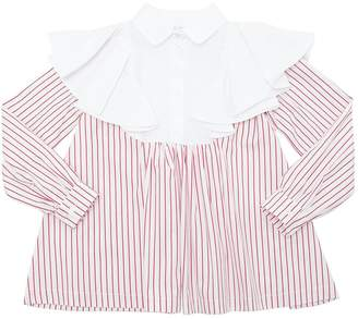 Fendi Striped & Solid Cotton Poplin Shirt