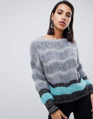 Sisley multi textured sweater with metallic thread