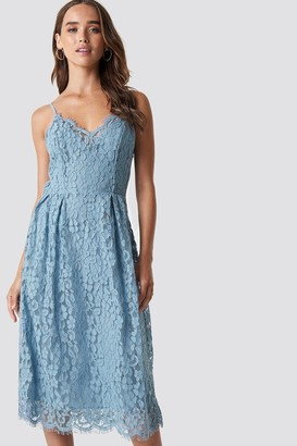 Na Kd Party Scalloped Edge Lace Dress Dusty Blue