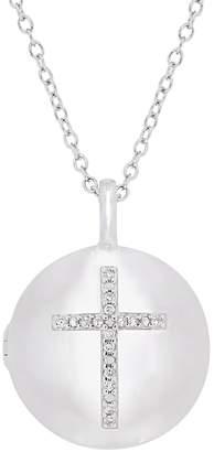 Stella Grace Sterling Silver Diamond Accent Cross Locket