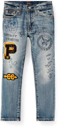 Ralph Lauren Sullivan Marker-Print Straight-Leg Jeans, Size 2-4