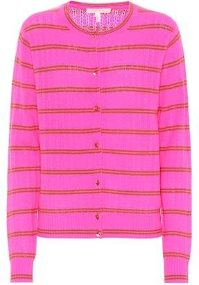 Marc Jacobs Striped cashmere pointelle cardigan