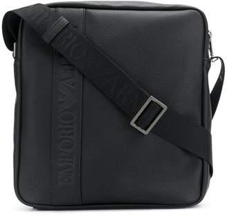 Emporio Armani logo embossed messenger bag