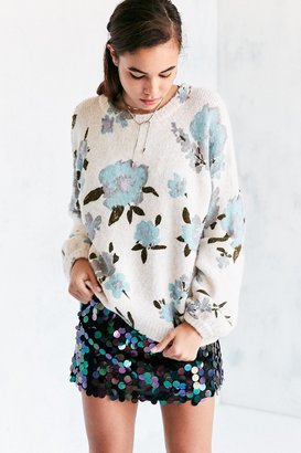 Kimchi Blue Floral Balloon-Sleeve Pullover Sweater $89 thestylecure.com