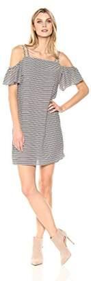 MSK Women's Double Strap Ruffle Cold Shoulder Dress, Ivory/Black, 6