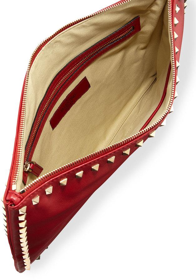 Valentino Rockstud Zip Clutch, Red