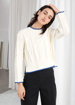 And other stories Structured Cropped Cable Knit Sweater