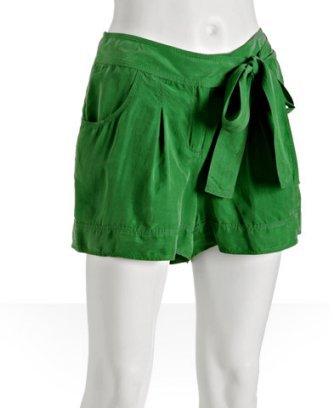 Diane Von Furstenberg kelly green silk 'Doutzen' pleated shorts