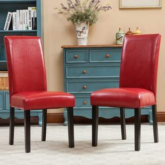 Roundhill Furniture Roundhill Donatello Urban Style Solid Wood Leatherette Padded Parson Chair Set of 2, Multiple Colors Available