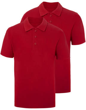 George Red Slim Fit School Polo Shirt 2 Pack