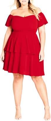 City Chic True Romance Off the Shoulder Dress