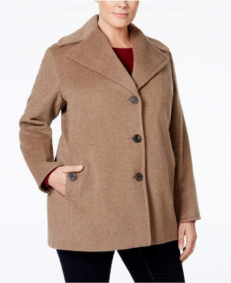 Calvin Klein Plus Size Single-Breasted Peacoat