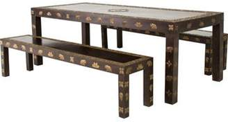 3-Piece Dining Table & Bench Set brass 3-Piece Dining Table & Bench Set
